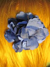 DARK BLUE fabric flower decorative HAIR CLIP accessory