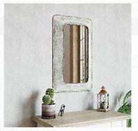 Rustic Distressed White Farmhouse Wall Mirror Bathroom Metal Hall Industrial NEW