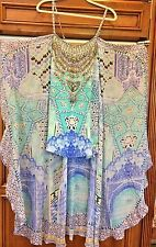 Camilla Franks Turquoise Jeweled Studded Abstract Print Tie Front Top