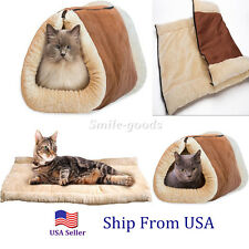 2 in 1 Pet Cat Bed Tunnel Fleece Tube Cushion Mat Pad For Dog Kennel Crate House