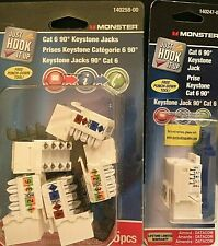 Monster Cat 6 90 Deg. Keystone Jacks Almond  5 Pack 140258-00 + 140257-00 1 pk.