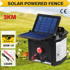 3km Solar Electric Fence Energiser Power Battery Charger 0.1J  Cattle Horse