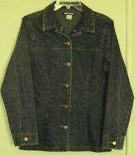 ODYSSEY Denim JACKET  dark denim TOP non stretch  Long Length ~ Women sz 12