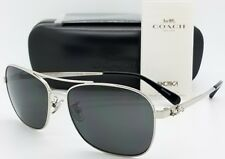 c37670c6cd New Coach sunglasses HC7080 900187 55mm Silver Grey Rectangle carriage  AUTHENTIC