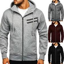Mens Zip Up Hoodie Sweatshirt Fleece Top Plain Hoody Jumper Pullover Winter Gym