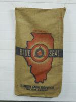 Vintage Illinois Farm Supply Company Blue Seal 100lb Burlap Seed Sacks