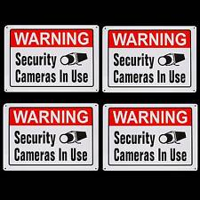 LARGE METAL HOME SECURITY CAMERAS SYSTEM ARE IN USE WARNING YARD FENCE SIGNS