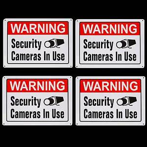 METAL HOME SECURITY CAMERAS SYSTEM IN USE WARNING YARD NO TRESPASSING SIGNS