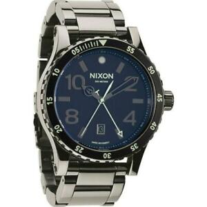 Nixon Diplomat SS Black Dial Polished Gunmetal Mens Watch A2771885 New With Tags