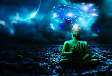 Framed Print - Buddha Sitting in a Rocky Dream World (Picture Poster Art)