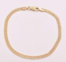 "7 1/4"" Solid All Shiny Bizmark Bismark Bracelet Real 10K Yellow Gold Reversible"