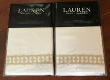2 LAUREN RALPH LAUREN Spencer EURO SHAMS Embroidered COTTON Wheat PAIR $300 NWT
