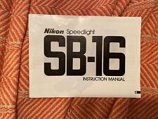 Nikon SB-16 Speedlight Instruction Manual