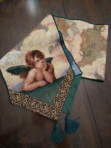 Cherubs Angels Green Tan Tapestry Tassel Table Runner