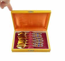 #e7087 6 russische Löffel Kaffeelöffel in 875 (Ag) Silber vergoldet & emailliert