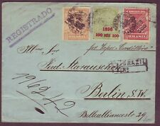 Brazil - Scarce 1898 Prov. Surcharge Stamps on 1899 Registered Cover to Germany!