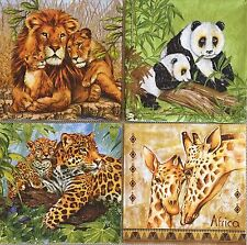 set of 4 DESIGNS PAPER NAPKINS COLLECTION for DECOUPAGE crafts Animals family