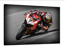 Chaz Davies 30x20 pulgadas lienzo-Ducati 1199 Panigale WSBK enmarcado cuadro impresión