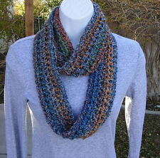 SMALL INFINITY SCARF Rust Blue Green Teal Red Gold Narrow Summer Cowl Crochet