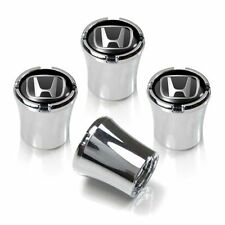 Honda Logo Tire Valve Stem Caps Black and Silver Set of 4 MADE IN USA