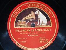 PIANO 78 rpm RECORD Gramofono IGNACE JAN PADEREWSKI Preludio en La & Re CHOPIN