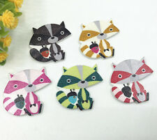 50X Wood animal buttons Mixed color Fox Fit decoration Kid's Crafts sewing 33mm