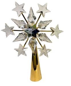 Swarovski Crystal Gold Christmas Tree Topper Stand COA #632785 Austria Orig Box
