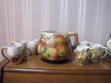 Antique Lenox Belleek Hand Painted Pitcher set & 6 Mugs Signed K.Merseher