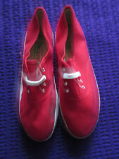Brand New Red Canvas pumps size 6.5 - 7 lace up beige sole