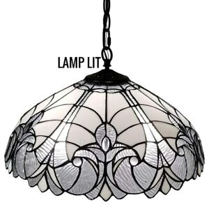 """Tiffany Style Pendant Ceiling Lamp Hanging Fixture White Stained Glass 18"""" Wide"""