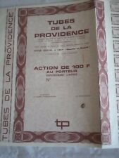 Vintage share certificate Stocks Bonds Tubes de la providence 1957