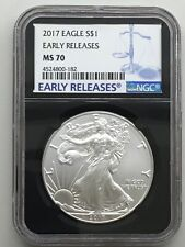 2017 $1 Silver American Eagle NGC MS70 Early Releases Black Label