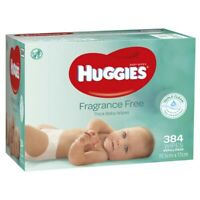 HUGGIES FRAGRANCE FREE THICK BABY WIPES 384 WIPES REFILL PACK 19.5 X 17CM