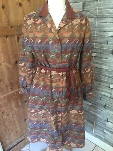 VIntage C1990's Coat Dress Front Button Up Brown Aztec Shades FOR REPAIR Cut Up