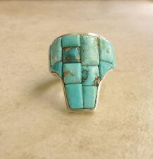 Gem Quality Turquoise Sterling Silver Handmade Ring by Brett Bastien Size 9 ½