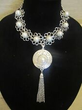 Mabe Pearl Flower & Medallion Statement Necklace- A Repurposed Original! OOAK