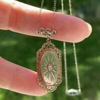 ANTIQUE ART DECO CAMPHOR GLASS  DIAMOND 14k GOLD FILIGREE NECKLACE