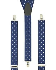 Polka Dot Navy Blue Trouser Braces Elastic Suspenders made in England