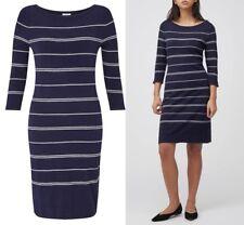 PRECIS PETITE Navy Stitch Stripe Viscose Dress Sizes 10-12-14-16
