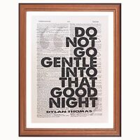 Dylan Thomas Welsh Poet - Do not Go Gentle dictionary page wall art print gift
