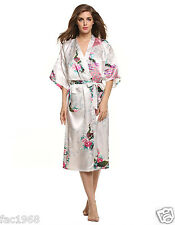 Avidlove Women's Long Satin Dressing Gown Nightwear Night Robe Peacock L New