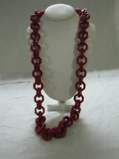 "FUNKY CHUNKY CHERRY RED RESIN OCTAGON LINK 36"" STATEMENT RUNWAY NECKLACE ~ WOW!!"