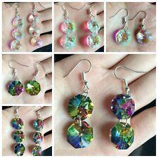Lady Multi AB Champagne Handmade drop Earrings Diamante Crystal Gem Jewellery