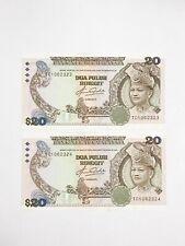 Malaysia, Bank Negara, 20 Ringgit KNB27a-e ND (1982-84) #TC 106 2323-4 Pair