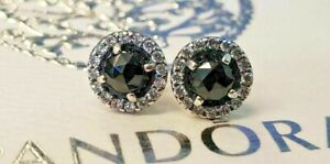 PANDORA   GLAMOROUS LEGACY BLACK SPINEL EARRINGS ✪NEW✪ 290548SPB RARE RETIRED CZ