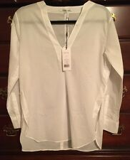 NWT Helmut Lang White Pull Over Long Sleeve V Neck Cotton Blouse Size XS $295