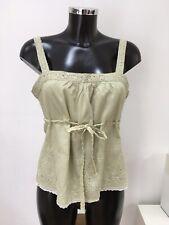 Ladies NOUGAT LONDON Green Sleeveless Cami Top Cotton Blouse Size 1