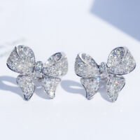 Gorgeous 925 Silver Stud Earrings Women White Sapphire Wedding Jewelry A Pair