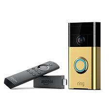 Ring Wi-Fi Video Doorbell Camera + Fire TV Stick w/ Alexa Control Polished Brass