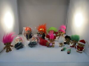 Assortment of Troll Dolls Russ Assorted Sizes, New & Used Lot of 14